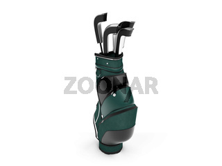 isolated golf stand bag on a white background