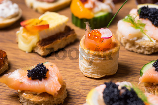 Exquisite selection of luxury appetizer