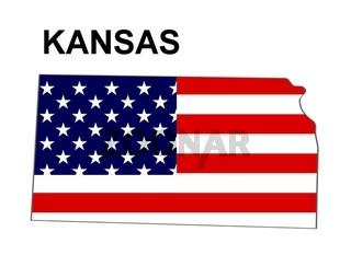 USA Landkarte Staat Stars & Stripes Kansas