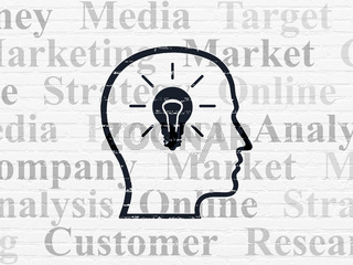 Marketing concept: Head With Lightbulb on wall background