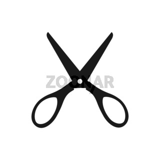 Silhouette of very open scissors
