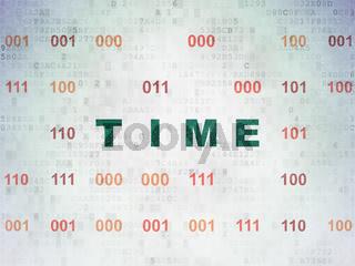 Timeline concept: Time on Digital Data Paper background
