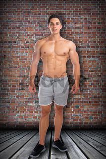 Bodybuilder Fitness Bodybuilding Muskeln Body Building stehen Ganzkörper Portrait muskulös jung