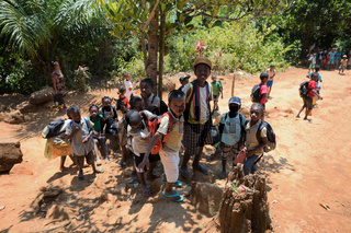 Malagasy school children waiting for a lesson