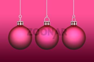 3x Weihnachtskugeln - Hintergrund rot / pink