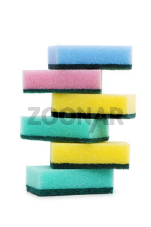 Various sponges isolated on the white background