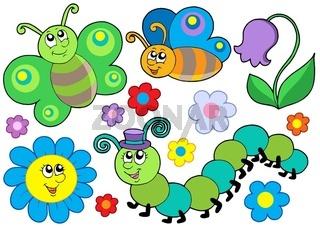 Bug and flower set - isolated illustration.