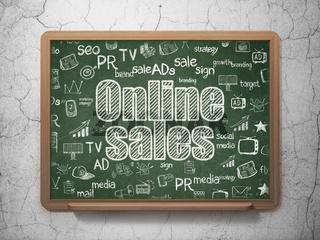 Marketing concept: Online Sales on School board background