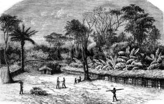 A village in Gabon, vintage engraving.