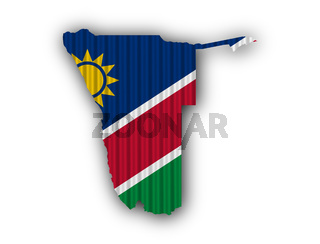 Karte und Fahne von Namibia auf Wellblech - Map and flag of Namibia on corrugated iron
