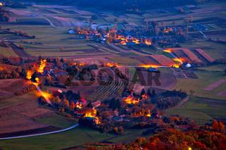 Picturesque Prigorje village evening aerial view