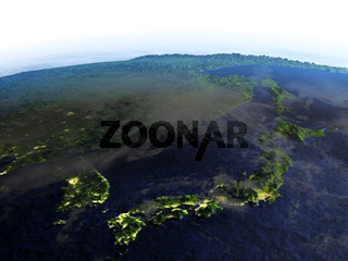 Japan and Koreas on realistic model of Earth