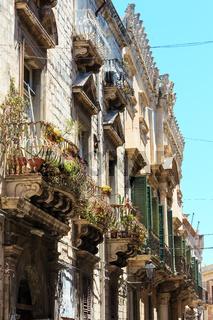 Ortigia street view, Syracuse, Sicily, Italy.