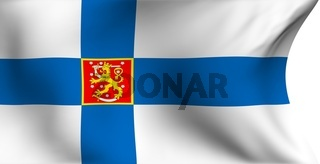Flag of Finland against white background. Close up.