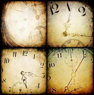 Antique pocket clock faces.  Grunge backgrounds collection.