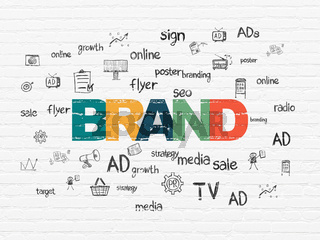 Marketing concept: Brand on wall background