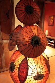 Dekoration mit Schirmen in der Altstadt von Luang Prabang in Zentrallaos von Laos in Suedostasien.