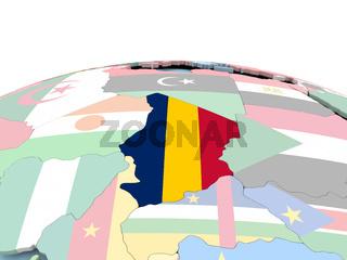 Flag of Chad on bright globe
