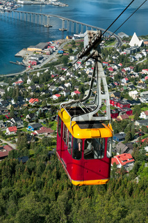 Cable car above Tromso city, Norway