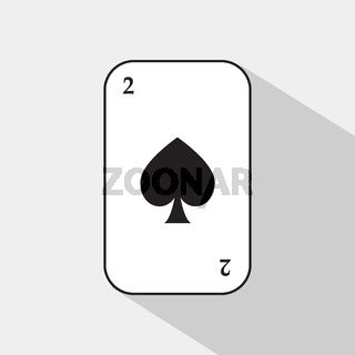 poker card. two shovel. white background to be easily separable.