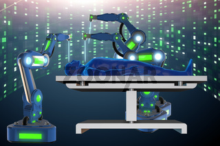 Surgery performed by robotic arm 3d rendering