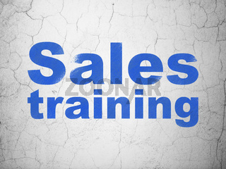 Marketing concept: Sales Training on wall background