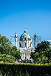 A view to Karlskirche and a park at Vienna, Austria.