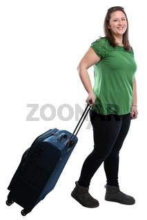 Junge Frau zieht Koffer Reise reisen verreisen Urlaub jung lachen Freisteller