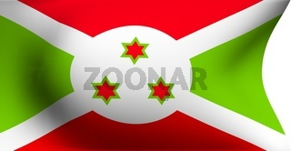 Flag of Burundi against white background. Close up.