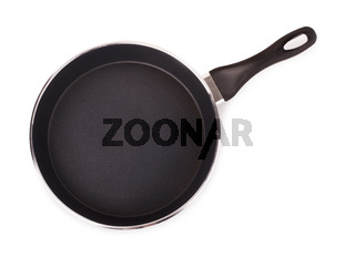 Black frying pan with a handle for cooking