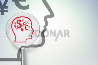 Marketing concept:  Head With Finance Symbol with optical glass on digital background