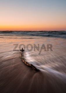 tranquil colorful landscape of sea coast (Baltic sea) photographet at sunset