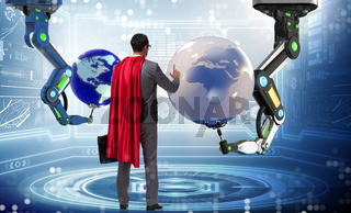 Superhero in global business concept