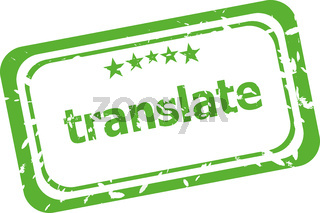 translate grunge rubber stamp isolated on white background
