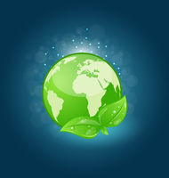 Global planet and eco green leaves