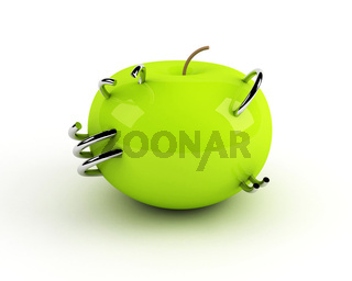 artificial apple with steel rings