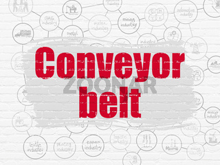 Manufacuring concept: Conveyor Belt on wall background