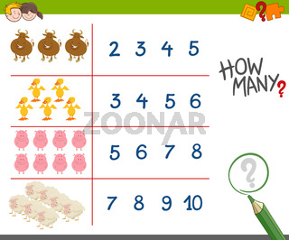 counting activity with farm animals