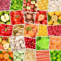 Obst und Gemüse Früchte Hintergrund von oben Quadrat Apfel Tomaten Orangen Zitrone