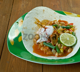 Chilli beef and bean tortilla