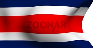 Flag of Costa Rica against white background. Close up.