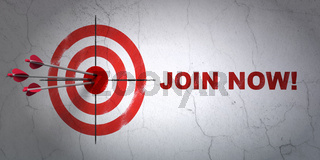 Social media concept: target and Join now! on wall background