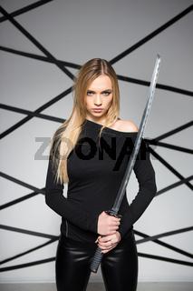 Portrait of serious blond woman