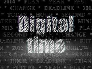 Timeline concept: Digital Time in grunge dark room