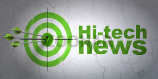 News concept: target and Hi-tech News on wall background