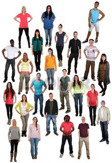 Lachen glücklich multikulturell junge People Menschen Gruppe viele Leute