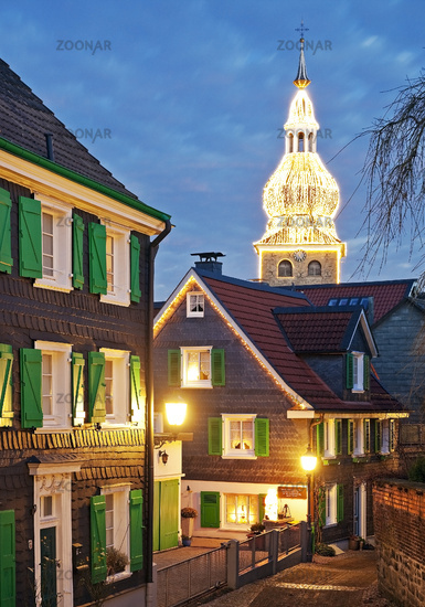 historical old city of Lennep with evangelic town church at Christmas time, Remscheid, Germany