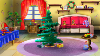 Christmas Tree in Baby Room Interior.