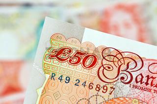 Britische Pfundnoten. Englische Pfund. Banknoten der englischen Währung.