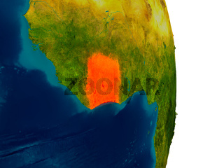 Ivory Coast on model of planet Earth